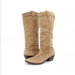 Pelle Moda Womens Tan Block Heel Knee High Boots